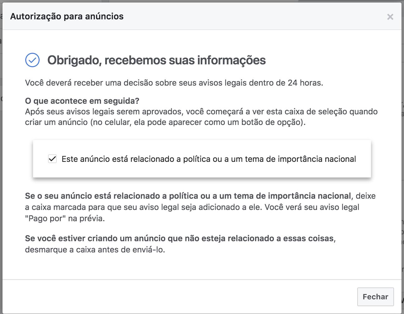 autorização para anúncios políticos facebook