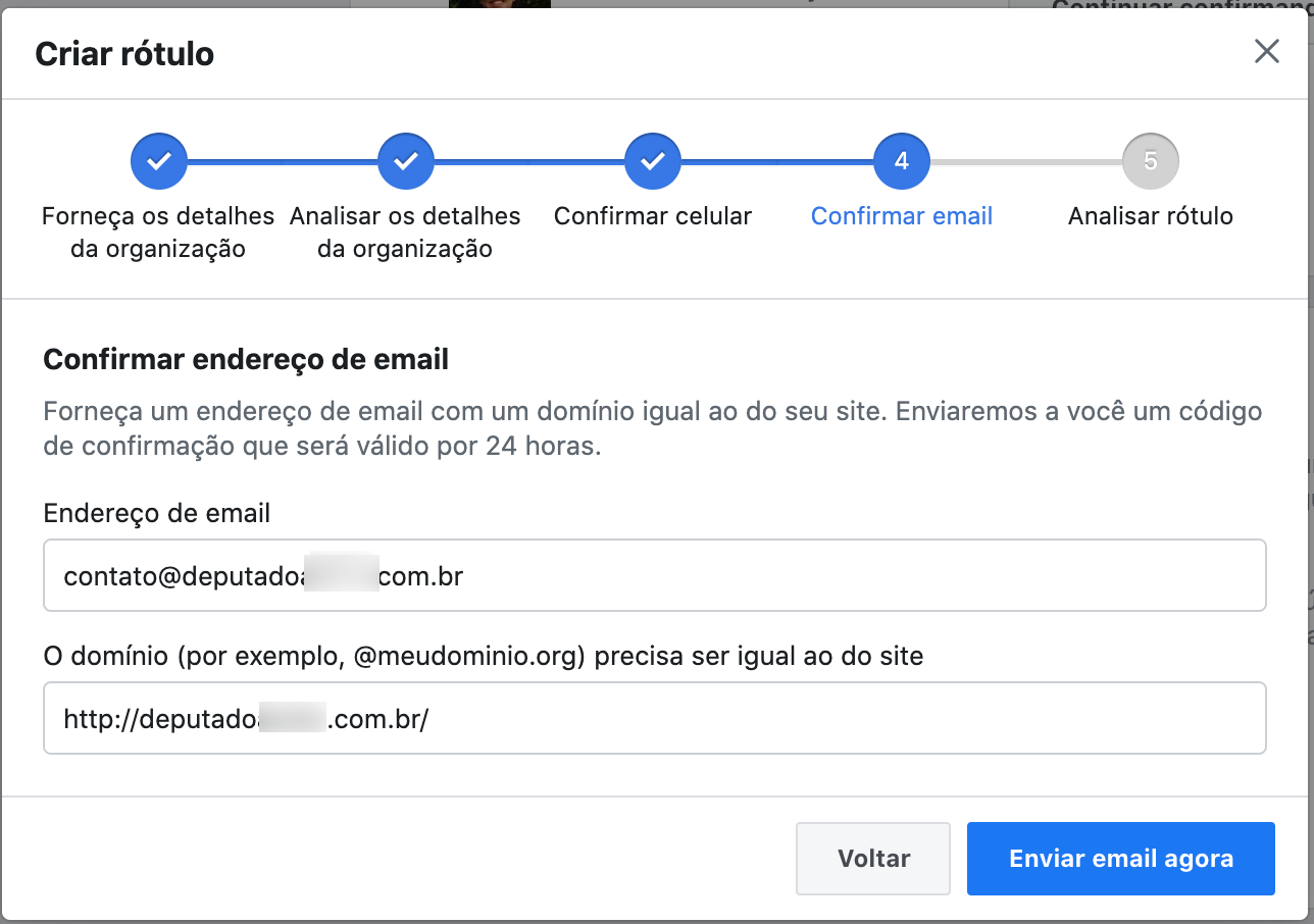 E-mail próprio para fazer anúncios políticos no facebook