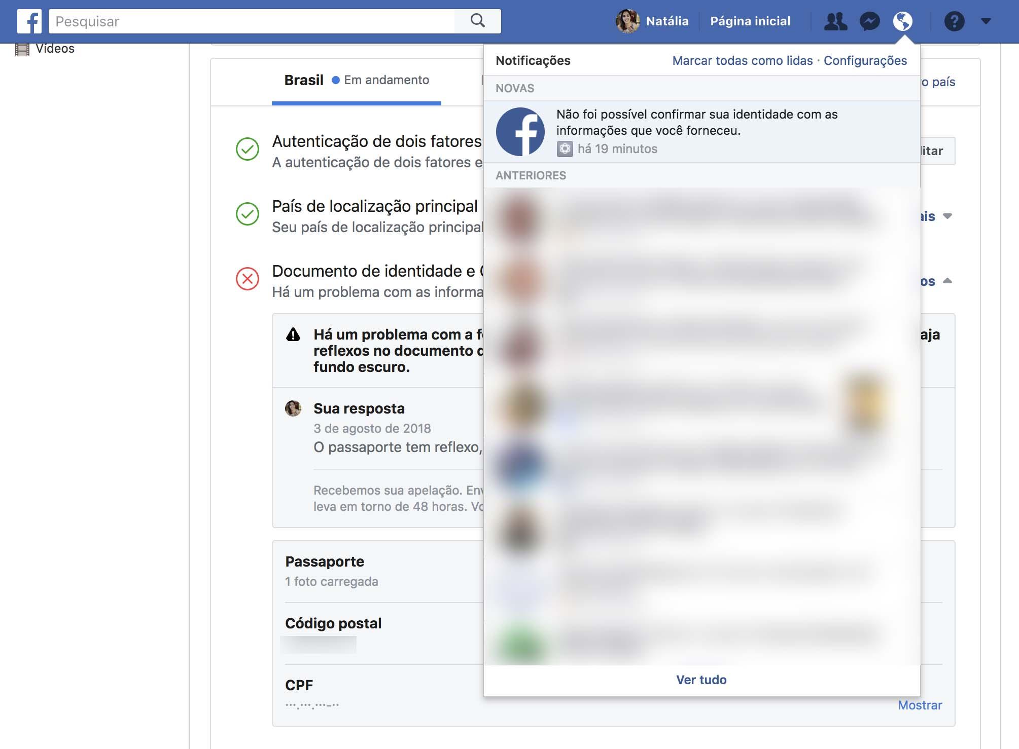 Erro ao verificar contas de anunciante político no Facebook