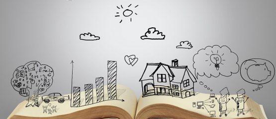 imagem de um livro com elementos desenhados para representar a narrativa na comunicação política
