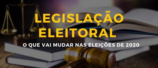 imagem de livros e um martelo de juiz com o texto: legislação eleitoral o que vai mudar nas eleições de 2020