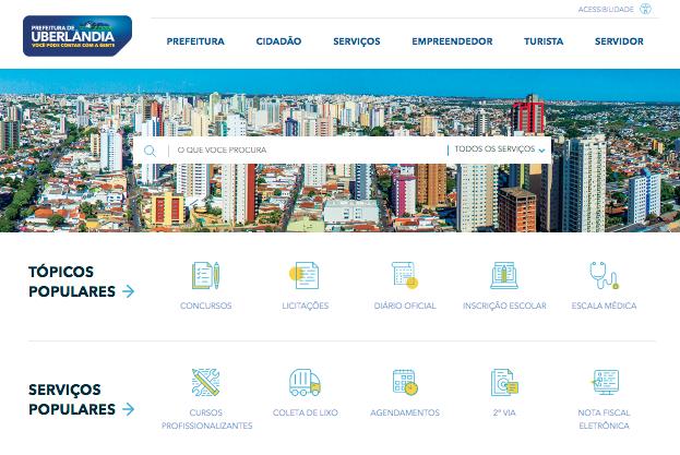 Imagem do site da prefeitura de uberlândia para ilustrar as ações de egov realizadas pela secretaria de comunicação