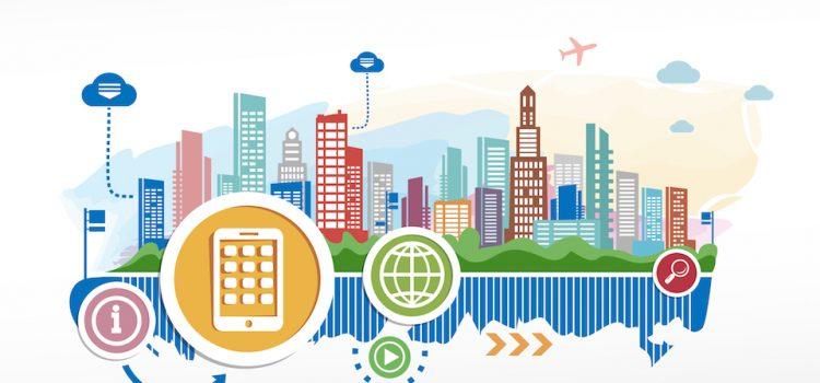imagem de uma cidade colorida com ícones de internet para simbolizar a implementação de práticas de egov