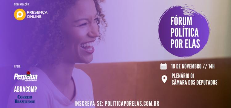 imagem de uma mulher sorrindo com as informações do fórum política por elas