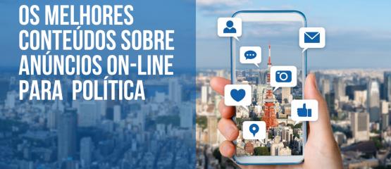 Imagem de uma cidade com o texto:5 artigos sobre anúncios on-line para comunicação política