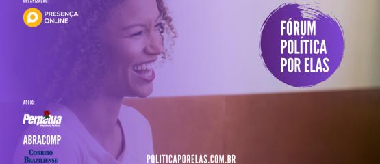 Mulher sorrindo em imagem de divulgação do fórum política por elas