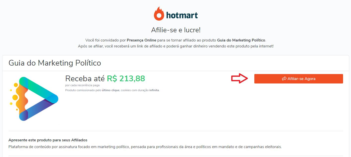 Passo 1 processo afiliado hotmart para vender o guia do marketing político