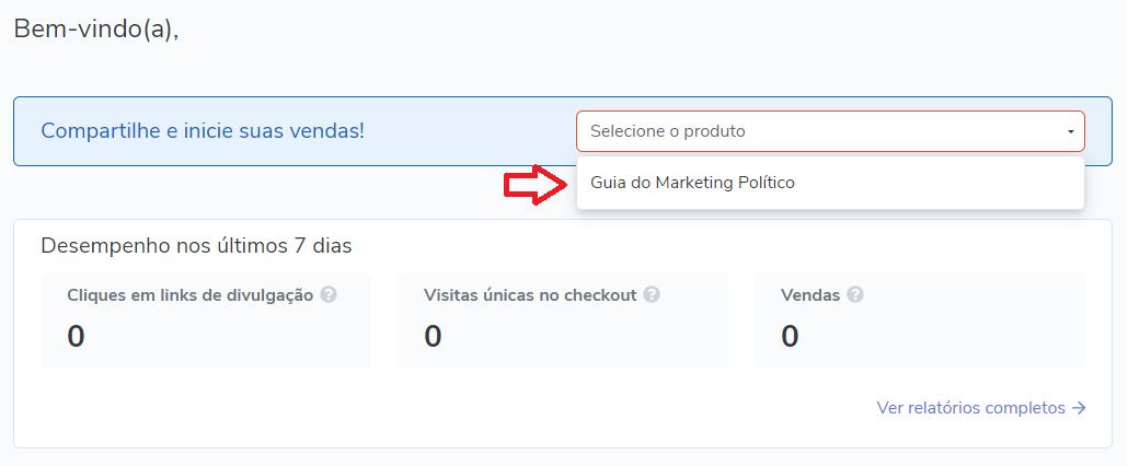 Passo 2 processo afiliado hotmart para vender o guia do marketing político