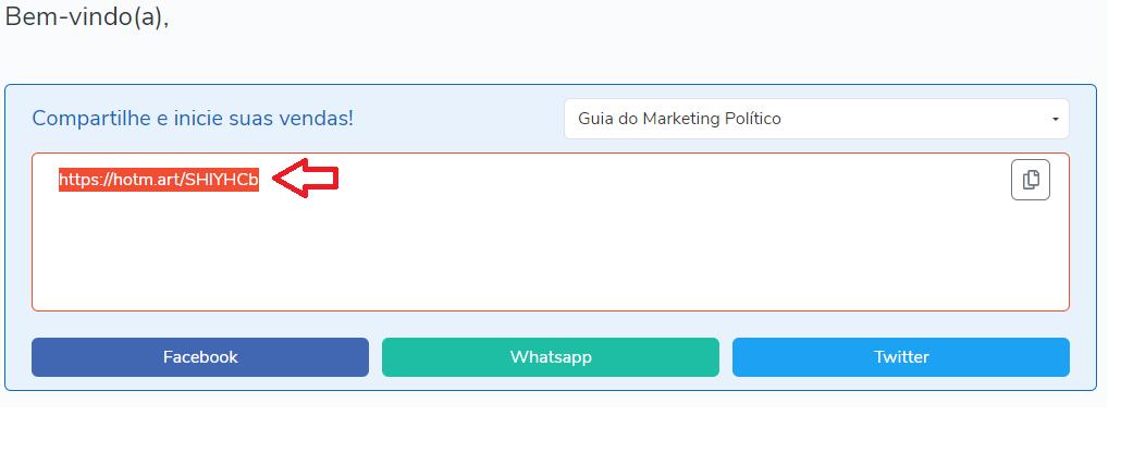 Passo 3 processo afiliado hotmart para vender o guia do marketing político