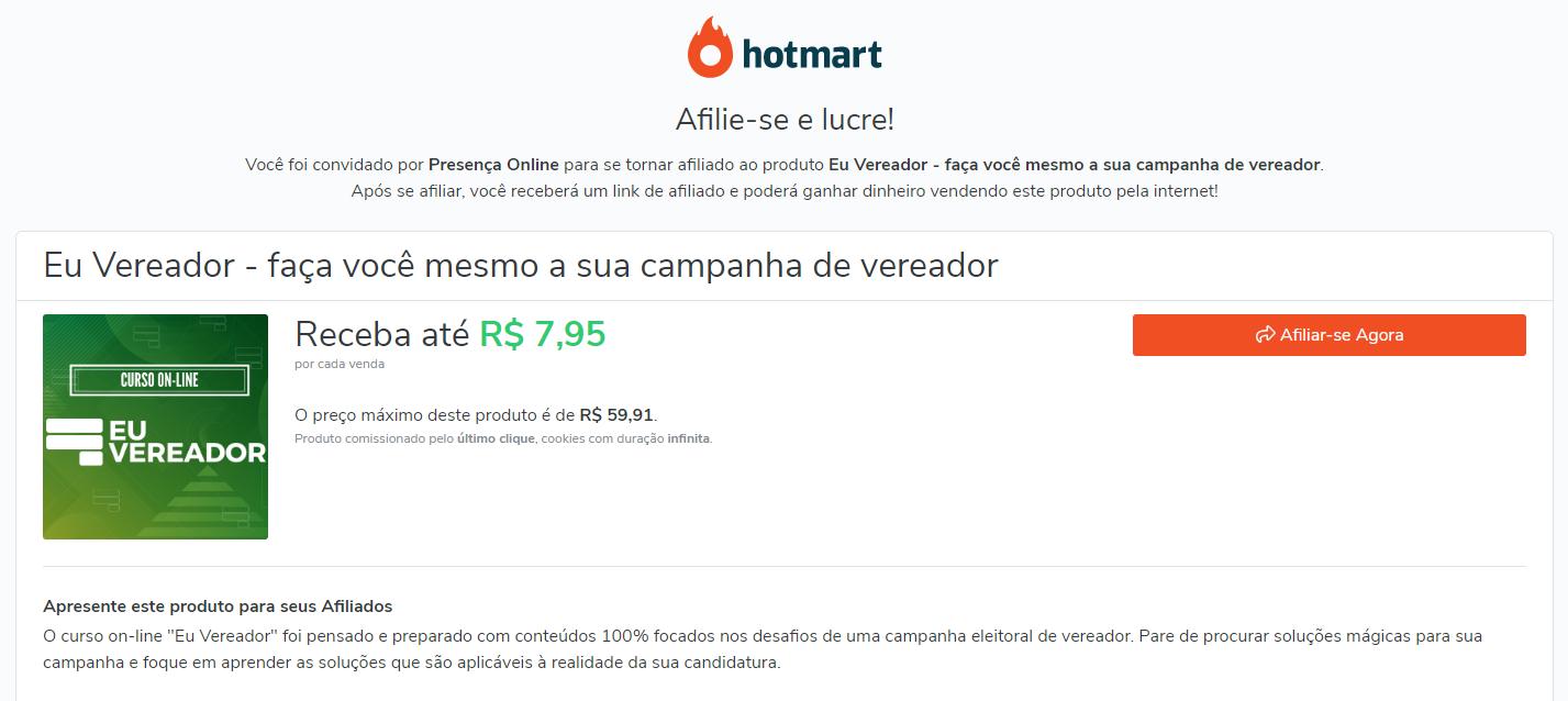 página de vendas afiliado hotmart eu vereador