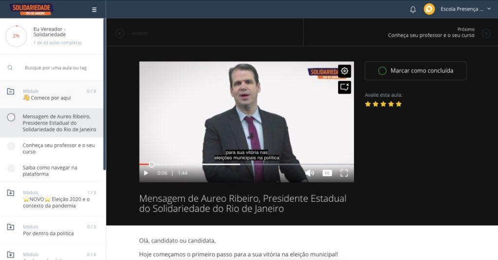 Aureo Ribeiro, presidente do Solidariedade Rio de Janeiro, na abertura do curso on-line, com Marcelo Vitorino