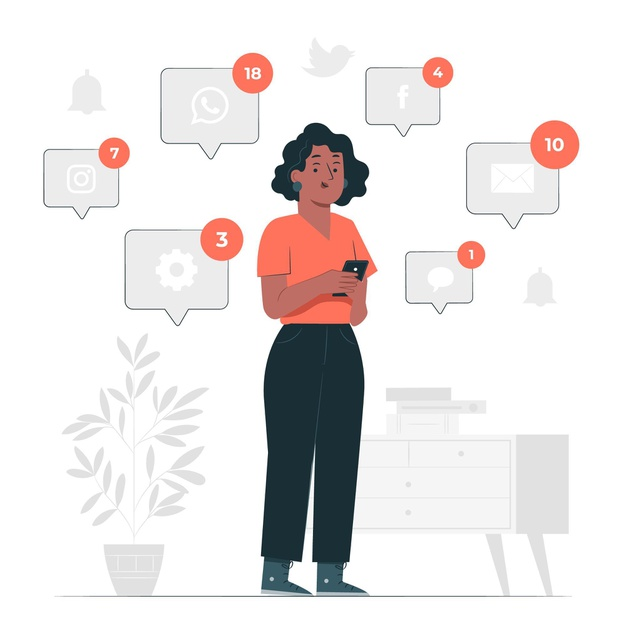 desenho de mulher usando telefone para simular agendamento de conteúdos de comunicação de mandatos e instituições